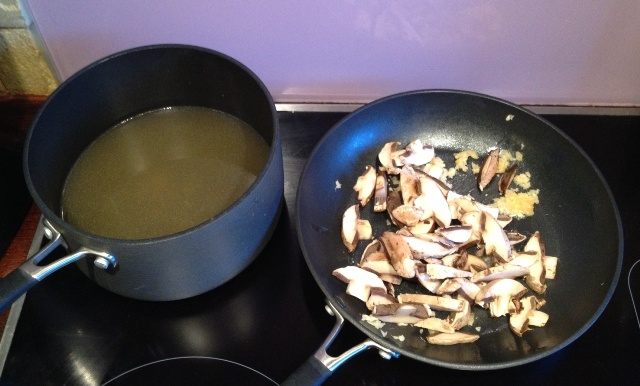 Sautee mushrooms & bring stock to a boil