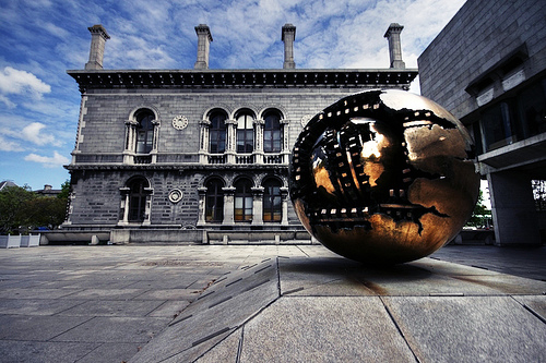 Sphere within Sphere sculpture at Trinity College, Dublin. 1982