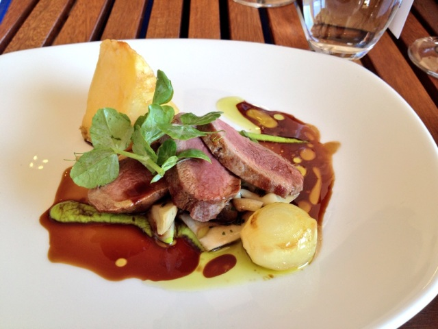 Creation Food |Springbok medallions & mushrooms with roasted potato triangle peas puree